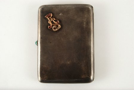 cigarette case, silver, monogramm with 6 rubys, 8 diamonds and 4 replaced stones, 875 standart, the beginning of the 20th cent., 157.3 g, Latvia