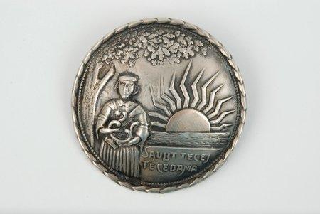 """Sakta """"Saule"""", sudrabs, 875 prove, 8.5 g., gredzena izmērs 5, 20 gs. 20-30tie gadi, Latvija"""