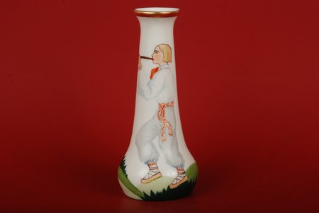 vase, Cowherd boy, sculpture's work, M.S. Kuznetsov manufactory, Riga (Latvia), ~ 1935, 13.5 cm, Hanpainted by N.Boiko