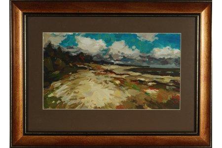 Skulme Jurģis (1928-2015), Jūrmalas pludmale, kartons, eļļa, 21.5 x 38.5 cm