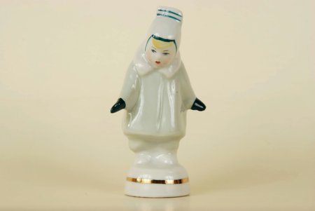"figurine, Girl in a fur coat ""Winter"", porcelain, Riga (Latvia), USSR, Riga porcelain factory, molder - Rimma Pancehovskaya, the 60ies of 20th cent., 10 cm"