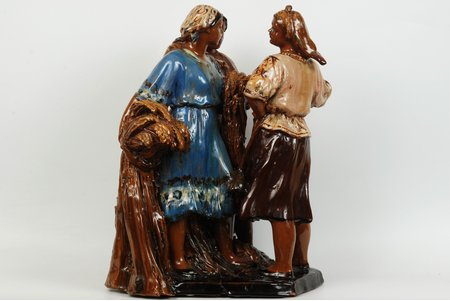 figurine, Three farm collective workers, ceramics, USSR, sculpture's work, the 50ies of 20th cent., ~40 cm, Probably, the author is N.Maksimchenko. A hand is missing; defects of glaze; slight chips on a basement