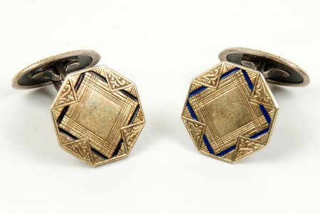 enamel, silver, gilding, 875 standart, 2.9 + 3.1 g., the 20-30ties of 20th cent., Latvia, Germany