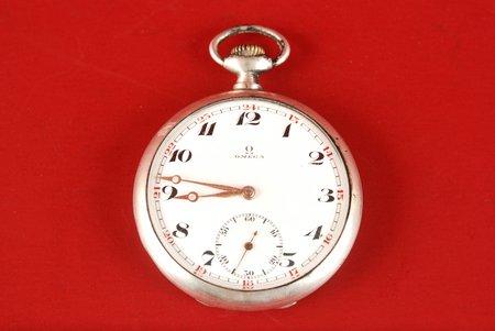 "kabatas pulkstenis, ""Omega"", d=49 mm, Šveice, 20 gs. 20-30tie gadi, sudrabs, 900 prove"