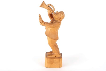 figurative copmosition, Trumpeter, Rudolfs Kopstals, wood, Latvia, the 40-50ies of 20 cent.