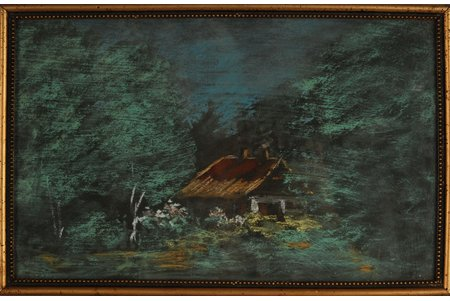 Irbe Voldemars  (1893-1944), House in the forest, paper, pastel, 23 x 36.5 cm