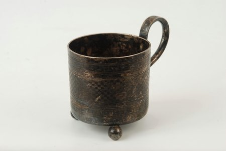 "tea glass-holder, ""Warszawa"", Schiffers & Co, silver plated, metal, Poland, the beginning of the 20th cent."
