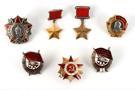 set, Soviet Union Hero Nr. 695, Lenin order screw Nr. 17414 (7414), Alexander Nevskij order Nr. 872 pendant (screw remake), Combat Red Banner order Nr. 17854 skrūve, Combat Red Banner order 2. rewarding Nr. 728 screw, Great Motherland War order 1. grade Nr. 157180, SU Hero copy for wearing, USSR, 40ies of 20 cent.