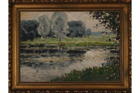 Пладерс Отто (1897 - 1970), Пейзаж с рекой, 1942 г., фанера, масло, 49.5 x 70 см