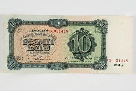 10 lats, 1933, Latvia