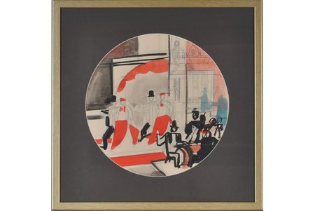 """Suta Romans (1896-1944), Mets šķīvim """"Orķestris"""", papīrs, akvarelis, tuša, 39.5 x 39.5 cm"""
