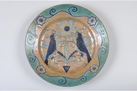 wall plate, Spring theme, sculpture's work, Rudolph Pelshe ceramics workshop in LMA, Riga (Latvia), 1935, 37 cm, author Yanis Tsiekurs