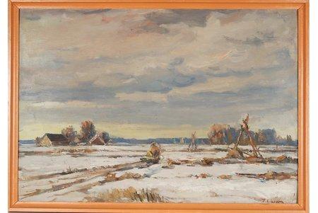 """Lauva Jānis (1906 - 1986), """"Ziema"""", ~ 1980 g., kartons, eļļa, 52 x 73 cm"""