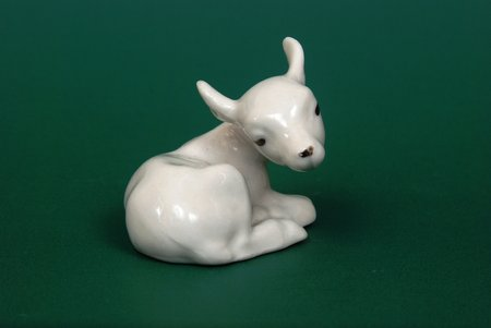 figurine, Bull-calf, porcelain, Riga (Latvia), USSR, Riga porcelain factory, the 50ies of 20th cent.