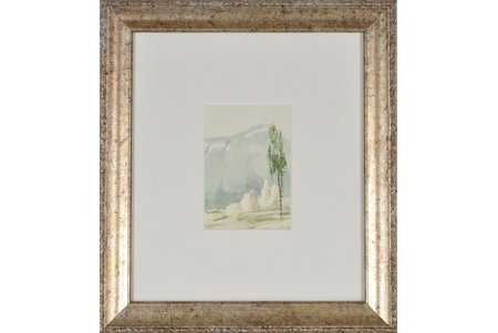 Mangolds Herberts (1901-1978), Rīts, papīrs, akvarelis, 9.5 х 6.5 cm