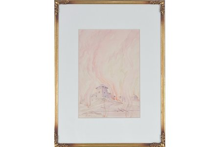 Mangolds Herberts (1901-1978), Zemgaļu pils, papīrs, akvarelis, 14.5 x 10 cm