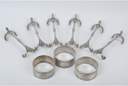 servēšanas komplekts, Bernd Krupp, Polija, 20. gs. sākums, 6 servēšanas priekšmeti (11.5 x 3 cm) un 3 salvešu gredzeni (d = 5 cm)