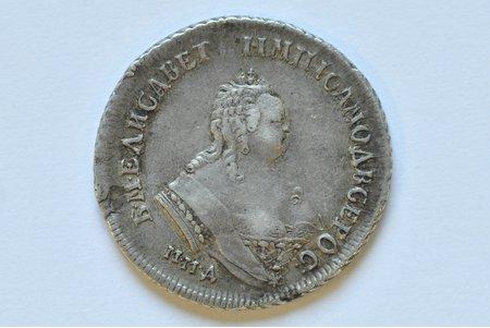 polupoltinnik (25 kopeikas), 1748 g., MMD, Krievijas Impērija, 6.75 g, d = 26 mm