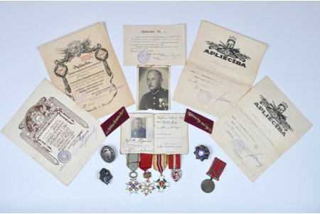 Set of military awards with certificates of the leutenant of the 2nd Ventspils infantry regiment Osvalds Stiprais, silver, Latvia, 20-30ties of 20th cent.