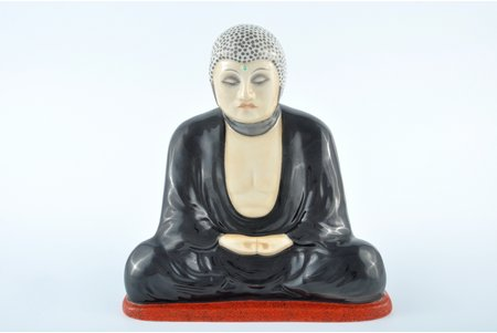 figurine, Budha, porcelain, Riga (Latvia), M.S. Kuznetsov manufactory, the 30ties of 20th cent., 19 cm, handpainted